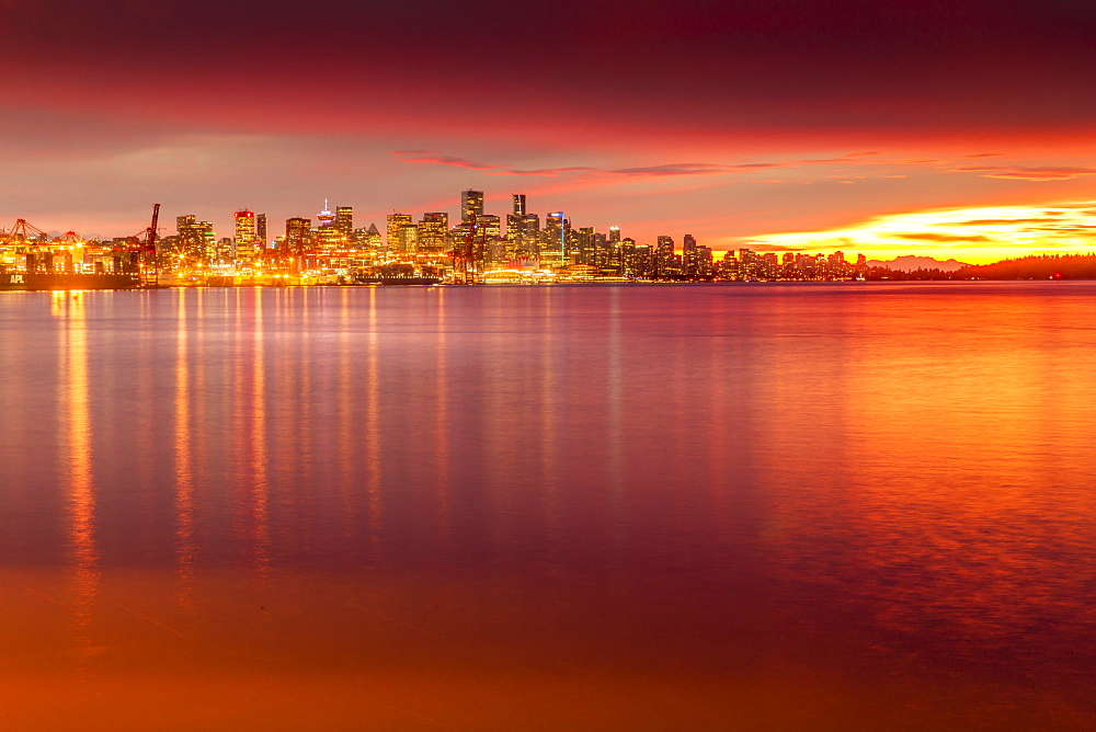 View of Vancouver Skyline from North Vancouver at sunset, British Columbia, Canada, North America - 844-14418
