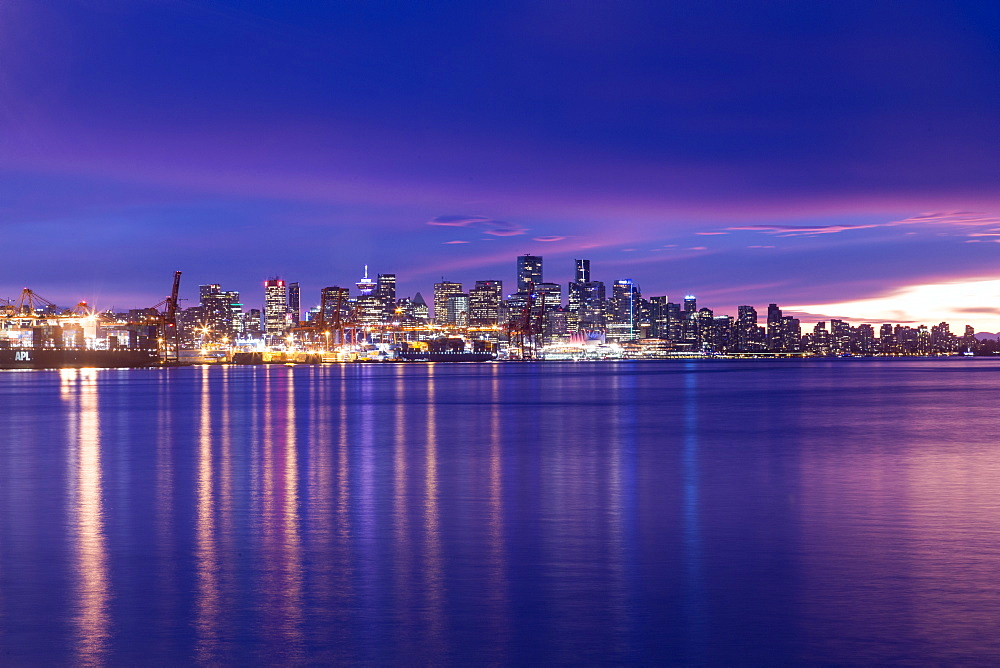 View of Vancouver Skyline from North Vancouver at sunset, British Columbia, Canada, North America - 844-14419