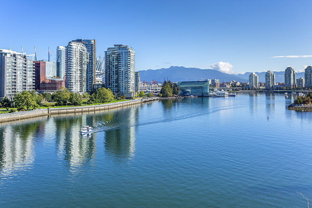View of False Creek from Cambie Street Bridge and Vancouver skyline, Vancouver, British Columbia, Canada, North America - 844-14420