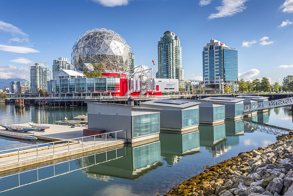 View of False Creek and Vancouver skyline, including World of Science Dome, Vancouver, British Columbia, Canada, North America - 844-14421