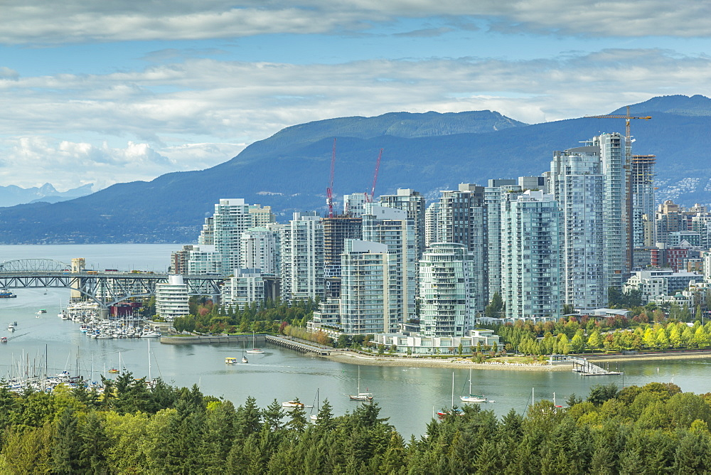 View of Vancouver skyline as viewed from Mount Pleasant District, Vancouver, British Columbia, Canada, North America
