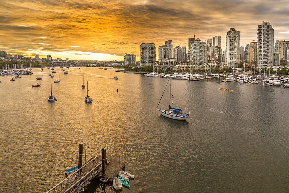 View of Vancouver skyline and False Creek as viewed from Cambie Street Bridge, Vancouver, British Columbia, Canada, North America - 844-14425