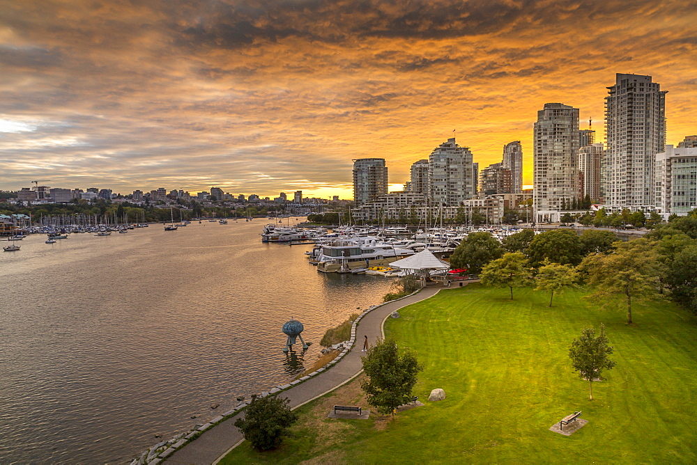 View of Vancouver skyline and False Creek as viewed from Cambie Street Bridge, Vancouver, British Columbia, Canada, North America - 844-14426