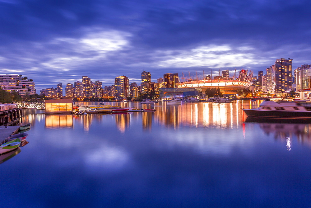 View of False Creek and Vancouver skyline, including BC Place, Vancouver, British Columbia, Canada, North America - 844-14428