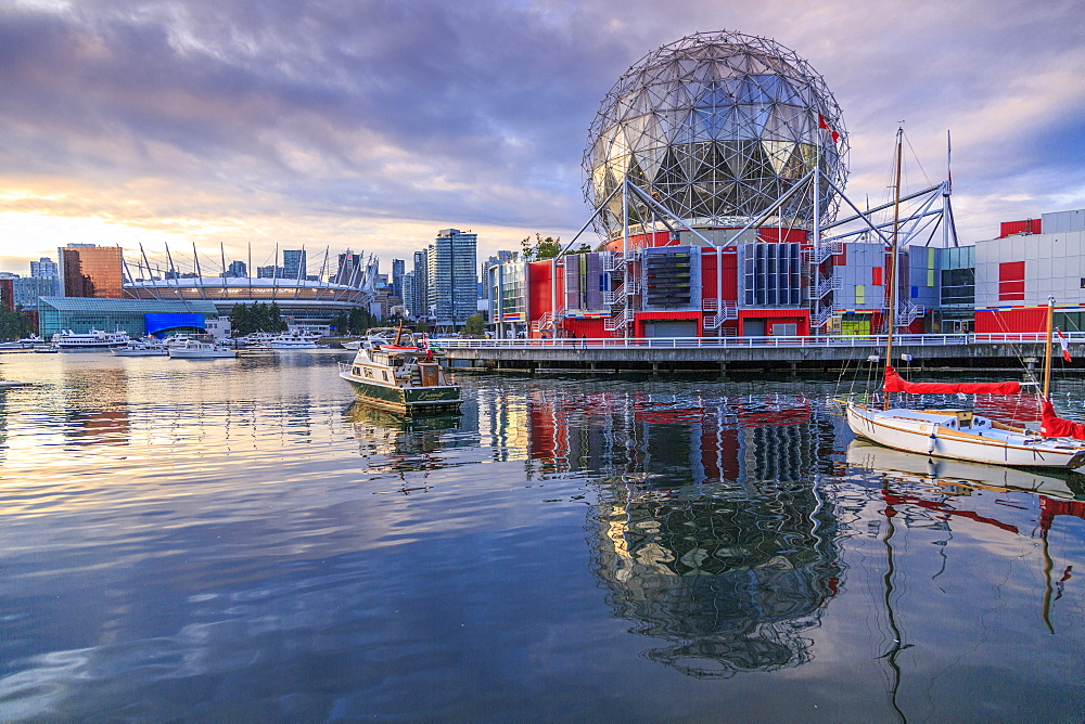 View of False Creek and Vancouver skyline, including World of Science Dome, Vancouver, British Columbia, Canada, North America - 844-14430