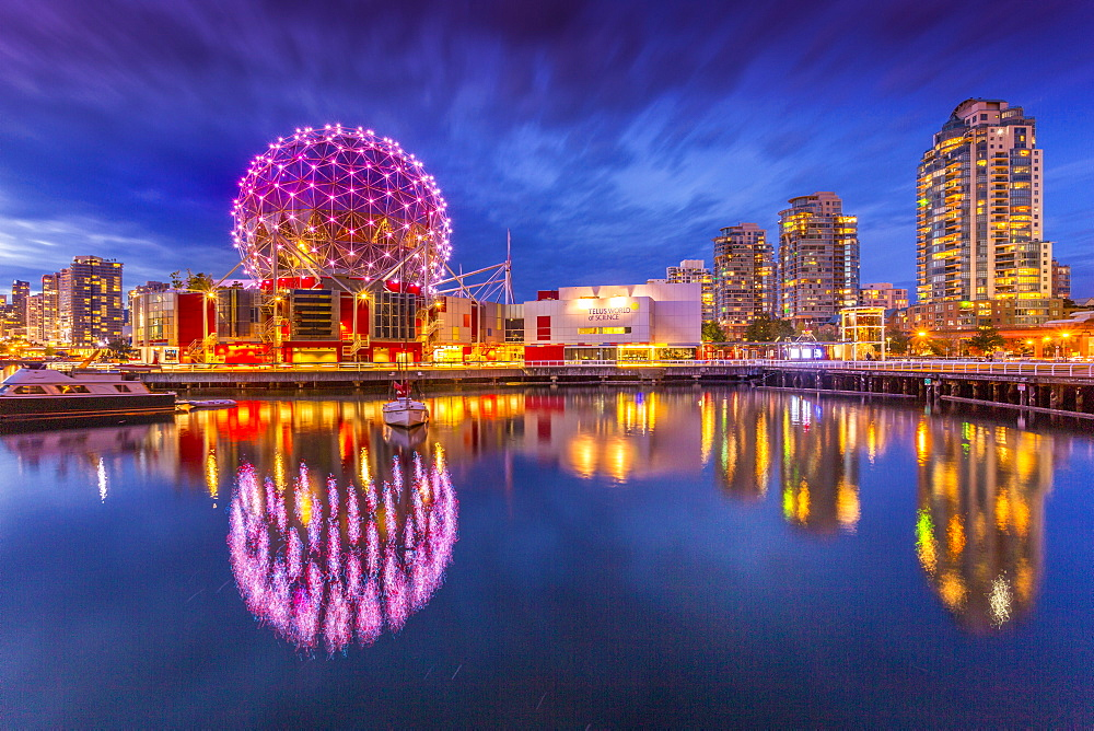 View of False Creek and Vancouver skyline, including World of Science Dome at dusk, Vancouver, British Columbia, Canada, North America - 844-14433