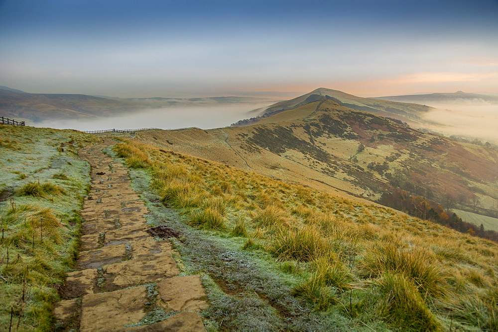 View from frosty Mam Tor of Hope Valley and Vale of Edale at sunrise, Castleton, Peak District National Park, Derbyshire, England, UK, Europe