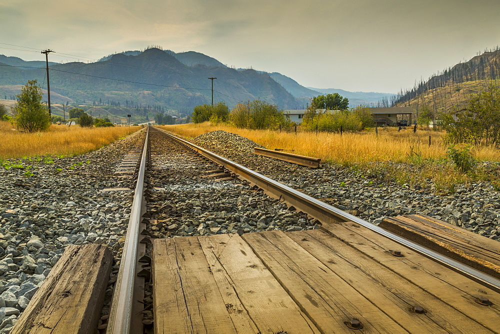 Railway line near Kamloops, British Columbia, Canada, North America