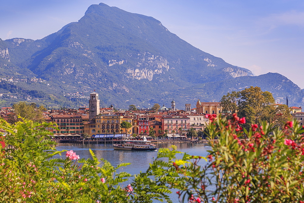 Elevated view overlooking the harbour at Riva del Garda, Lake Garda, Trentino, Italy, Europe