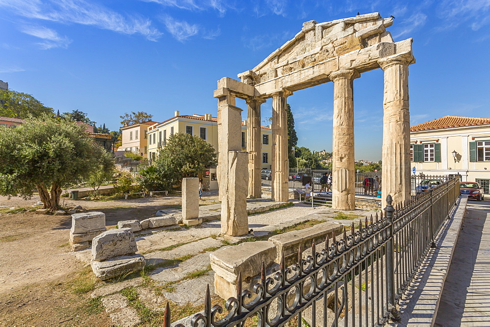 View of the Gate of Athena Archegetis, historical landmark at the foot of the Acropolis, Athens, Greece, Europe
