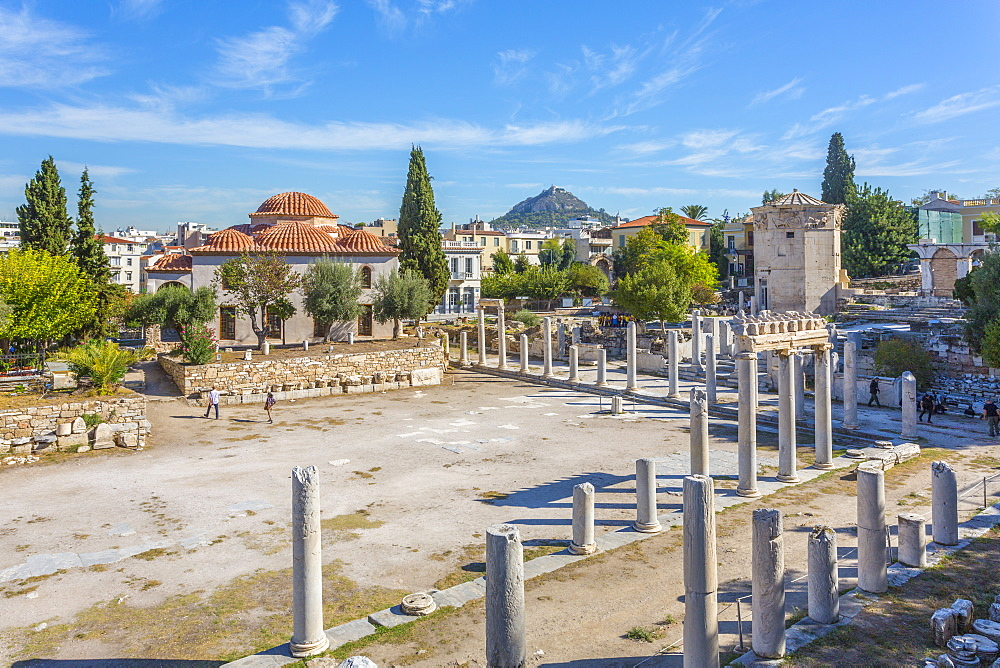 View of the remains of the Roman Agora, historical landmark and Fethiye Mosque visible, Athens, Greece, Europe