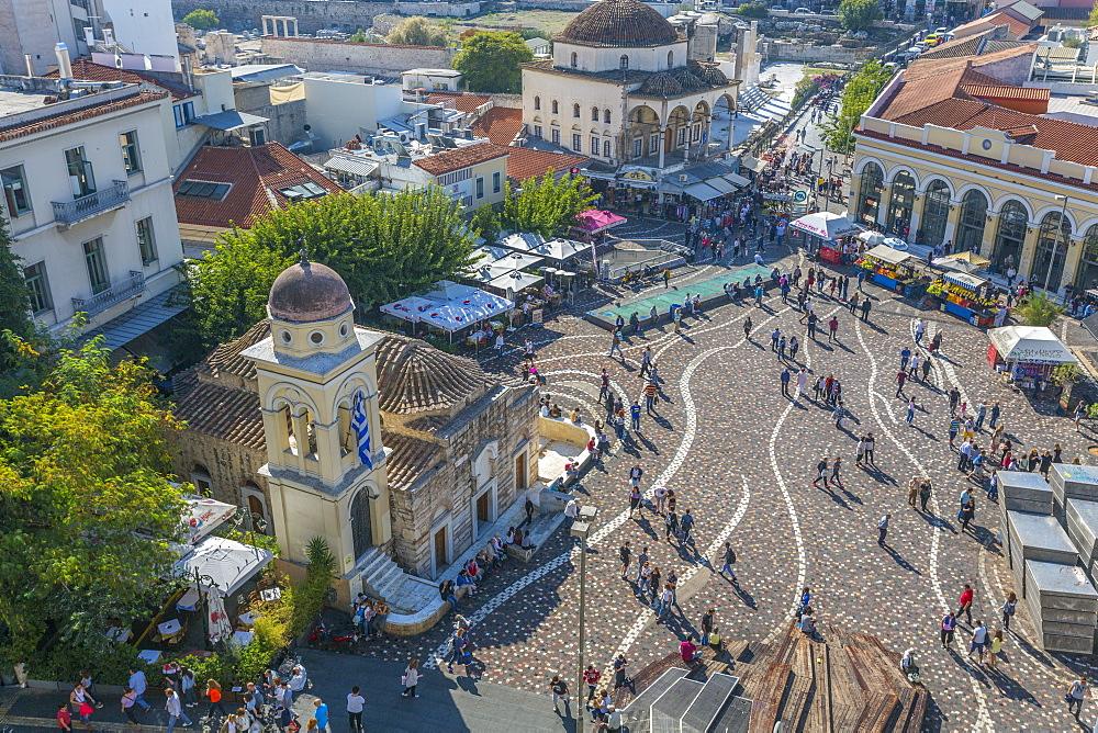 Elevated view of taxis, shoppers and Greek Orthodox Church in Monastiraki Square, Monastiraki District, Athens, Greece, Europe