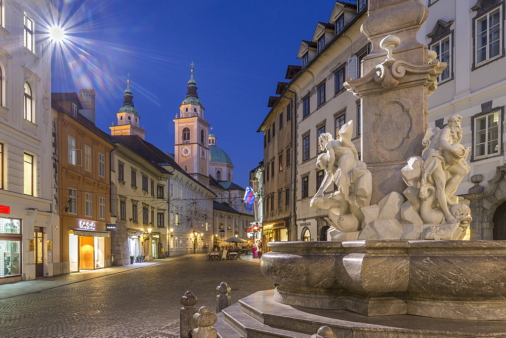 View of Cathedral of St. Nicholas and Robba fountain at dusk, Ljubljana, Slovenia, Europe - 844-15201