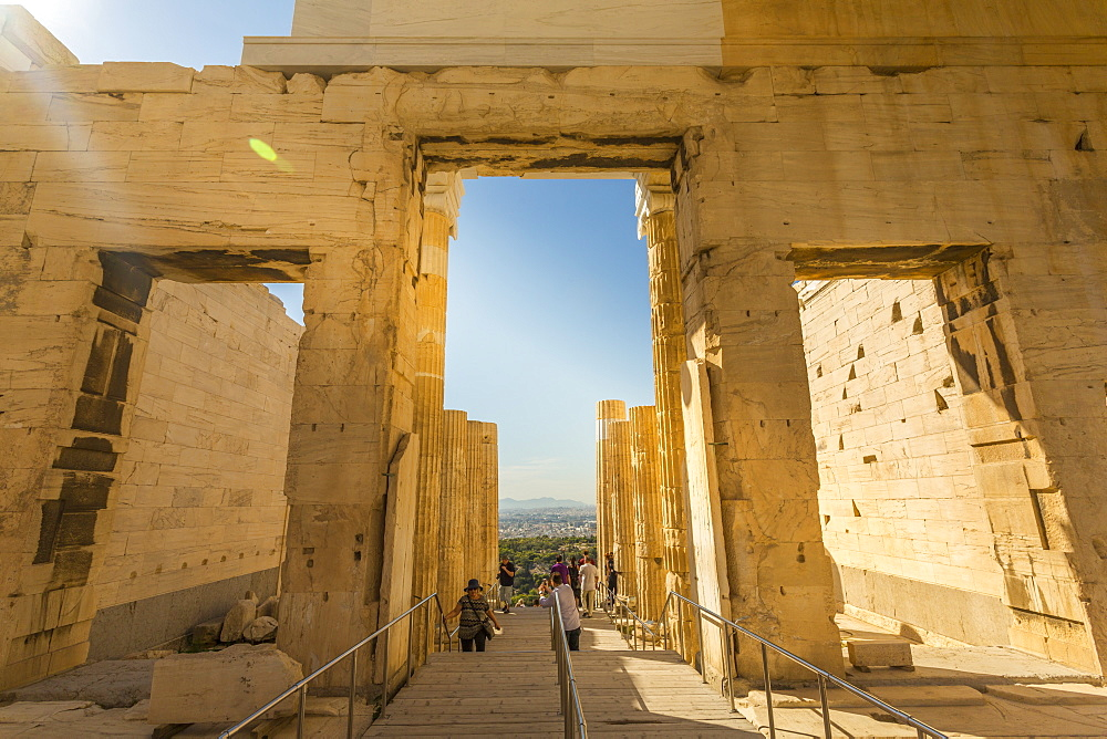 View of the Propylaea, the principal gateway to The Acropolis, Athens, Greece, Europe
