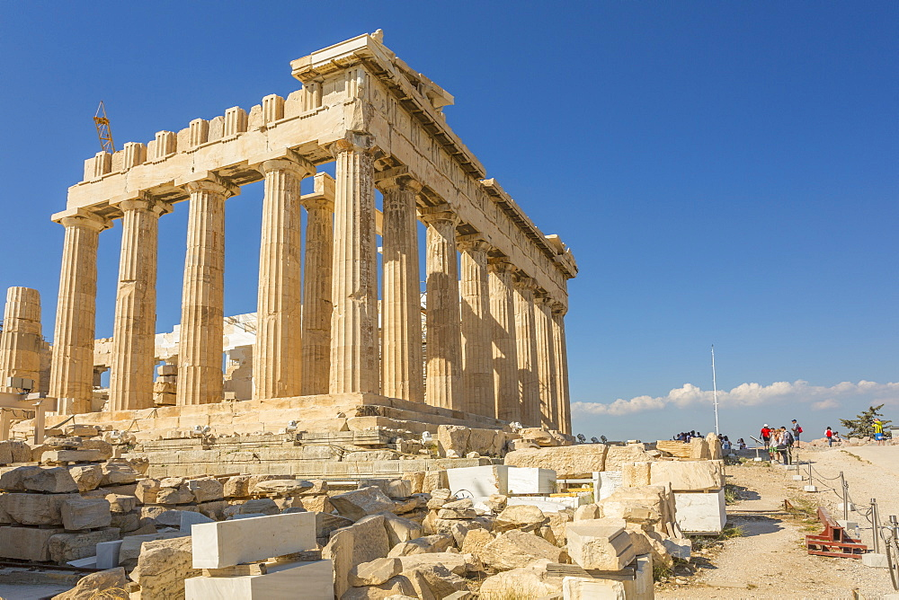 View of the Parthenon during late afternoon sunlight, The Acropolis, Athens, Greece, Europe
