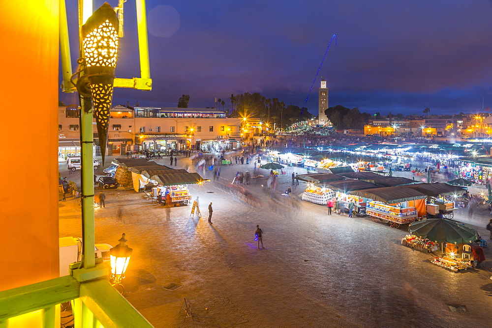 View of Jemaa el Fna (Djemaa el Fnaa) Square, UNESCO World Heritage Site and Koutoubia Mosque at night, Marrakesh (Marrakech), Morocco, North Africa, Africa