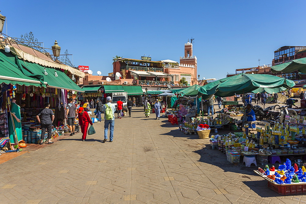 Various stalls on Jemaa el Fna (Djemaa el Fnaa) Square, UNESCO World Heritage Site during daytime, Marrakesh, Morocco, North Africa, Africa