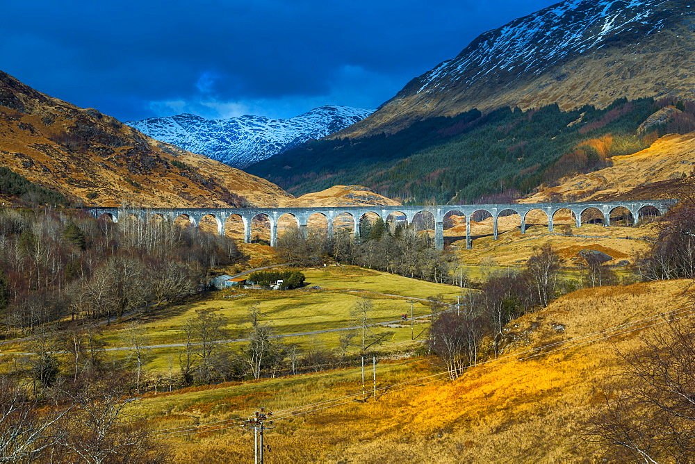 View of The Glenfinnan Viaduct Railway Viaduct on the West Highland Line in Glenfinnan, Inverness-shire, Scotland, Europe