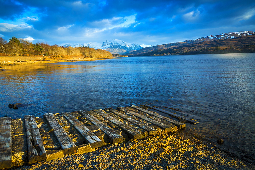 View of Loch Eil near Glenfinnan in winter, Highlands, Scotland, United Kingdom, Europe