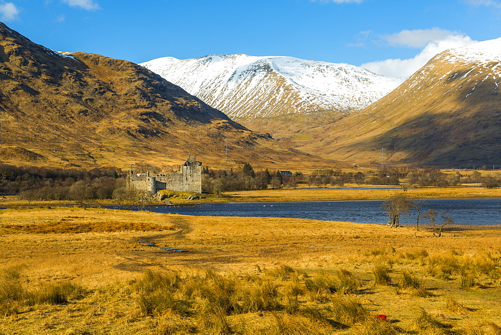 The ruins of Kilchurn Castle seen across Loch Awe in winter, Kilchurn Bay, Loch Awe, Argyll and Bute, Highlands, Scotland, United Kingdom, Europe
