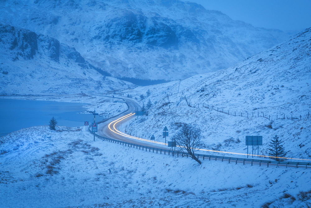 Scottish Highland road near Arrochar village in winter in the Loch Lomond and the Trossachs National Park, Stirling, Scotland, United Kingdom, Europe