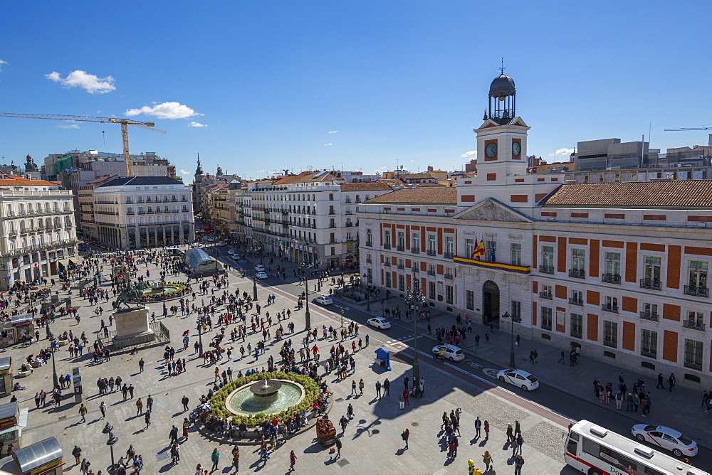 Elevated view of Real Casa de Correos and Puerta del Sol, Madrid, Spain, Europe