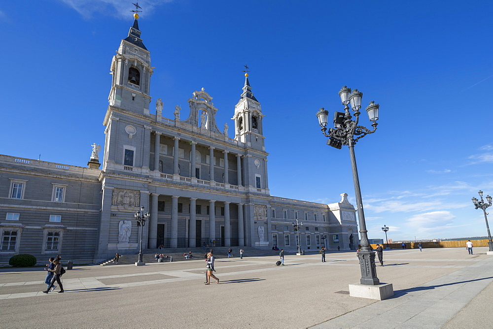 View of Madrid Cathedral on bright sunny morning, Madrid, Spain, Europe