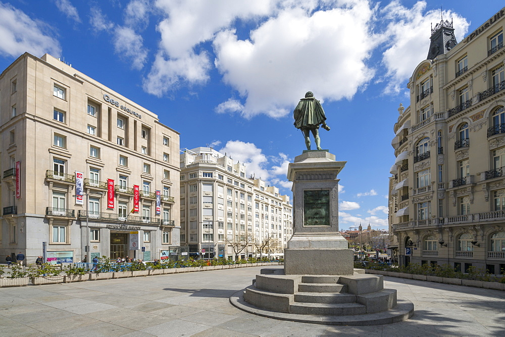 View of Michaeli de Gervantes statue in Plaza de las Cortes, Madrid, Spain, Europe