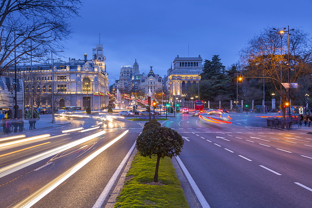 View of Cibeles Fountain in Plaza Cibeles at dusk, Madrid, Spain, Europe