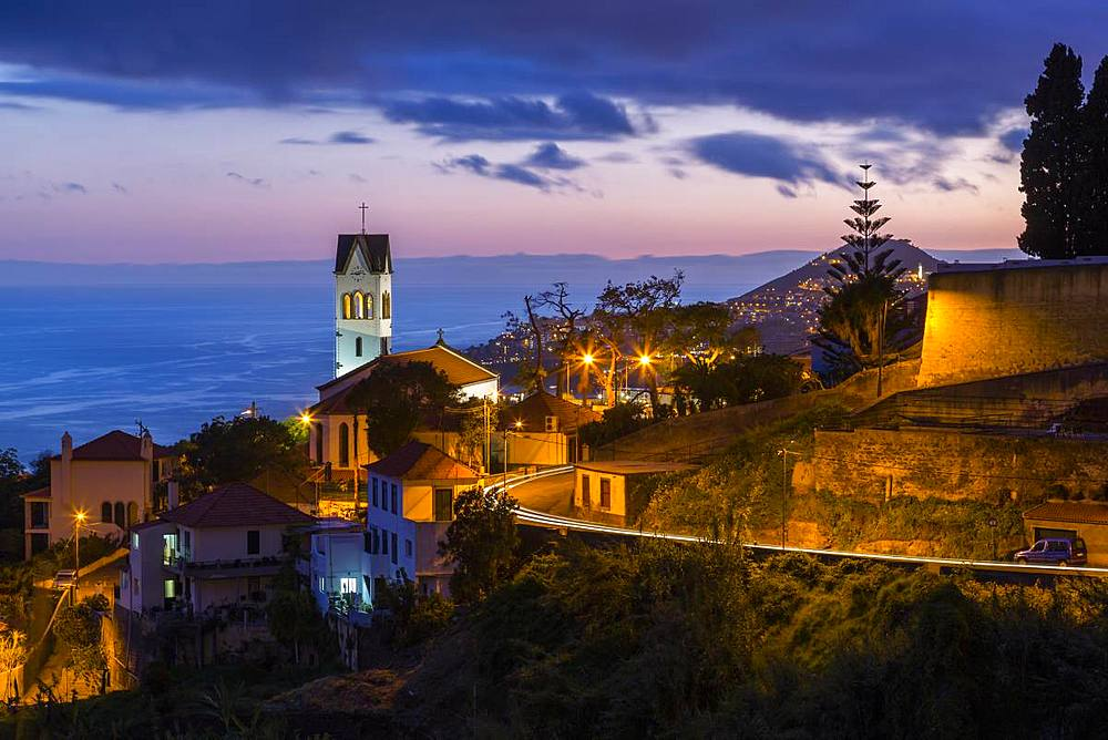 View of Church of Sao Goncalo overlooking Funchal harbour and town at dusk, Funchal, Madeira, Portugal, Atlantic, Europe