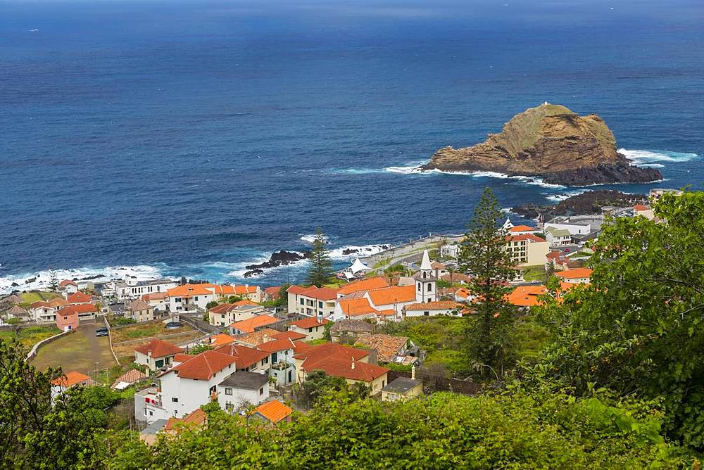 View of seaside town from elevated position, Porto Moniz, Madeira, Portugal, Europe - 844-16257