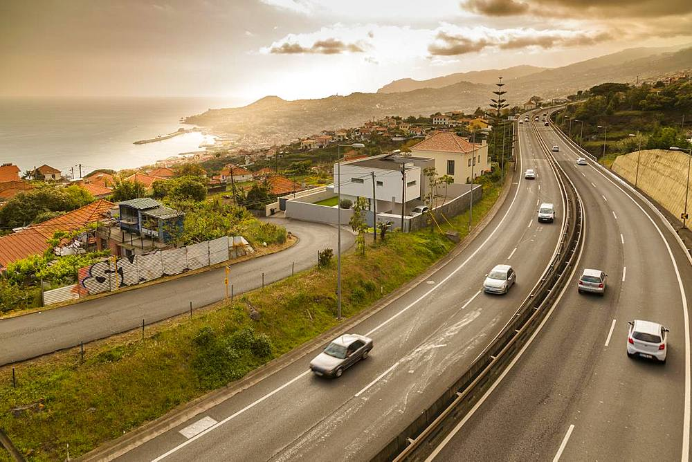 View of road above Funchal viewed from elevated position, Madeira, Portugal, Europe - 844-16262
