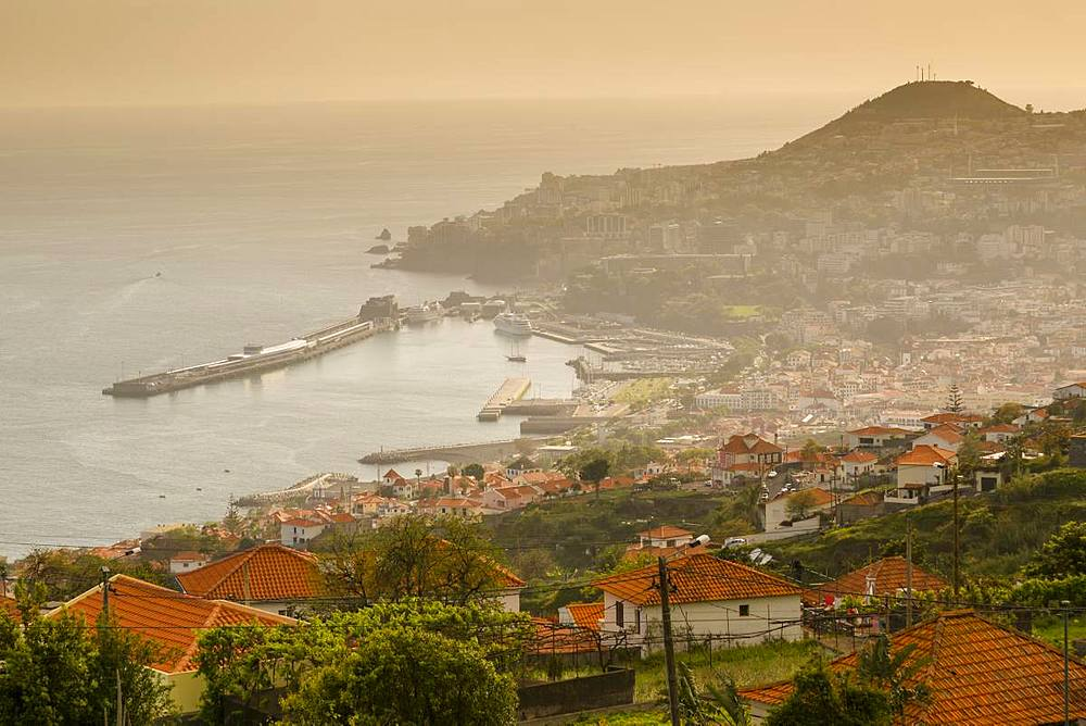 View over harbour and old town of Funchal viewed from elevated position, Funchal, Madeira, Portugal, Atlantic, Europe