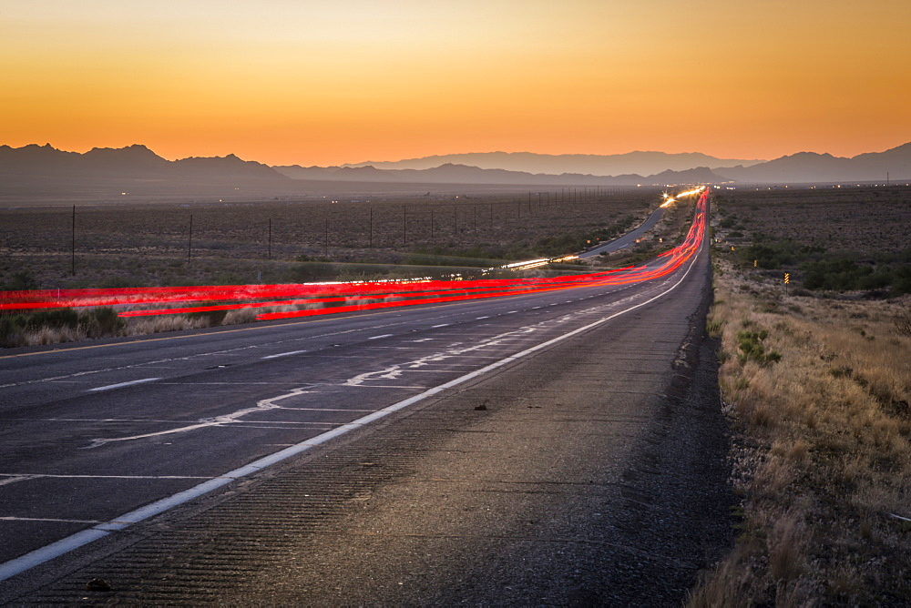 View of trail lights on Highway 93, Arizona, United States of America, North America