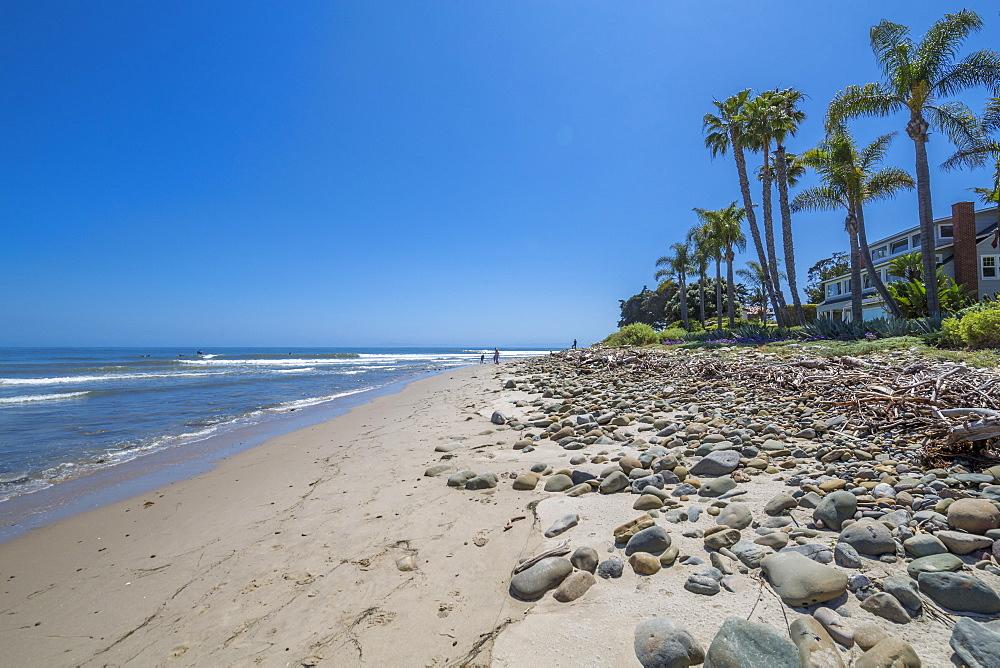 View of beach and coastline near Santa Barbara, Santa Barbara County, California, United States of America, North America