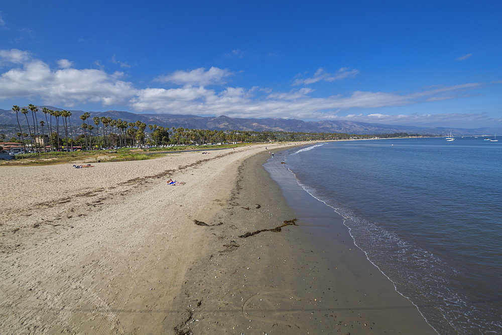 View of beach from Stearns Wharf, Santa Barbara, Santa Barbara County, California, United States of America, North America