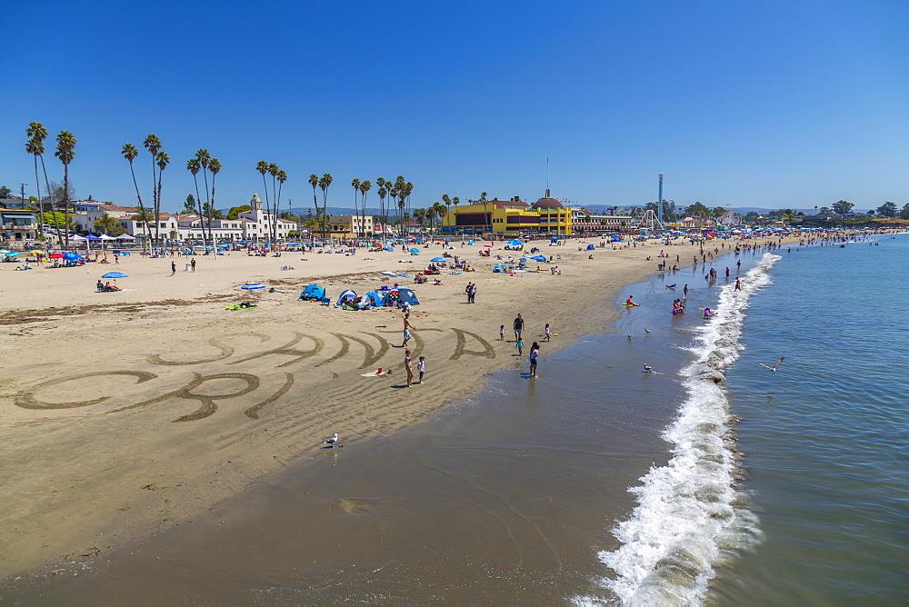 View of Main Beach from Municipal Wharf, Sant Cruz, California, United States of America, North America - 844-16949