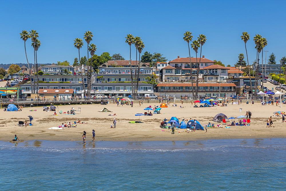 View of Main Beach from Municipal Wharf, Sant Cruz, California, United States of America, North America - 844-16950