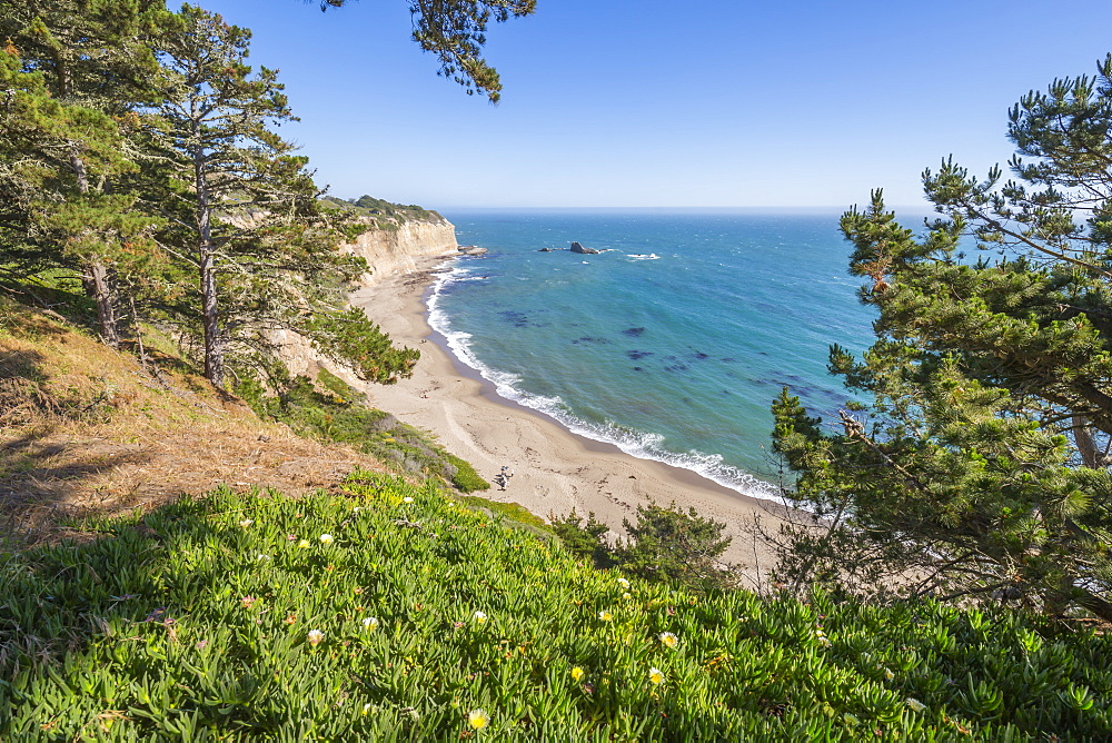 View of beach on Highway 1 near Davenport, California, United States of America, North America