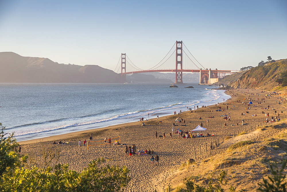 View of Golden Gate Bridge from Baker Beach at sunset, South Bay, San Francisco, California, USA, North America - 844-16955