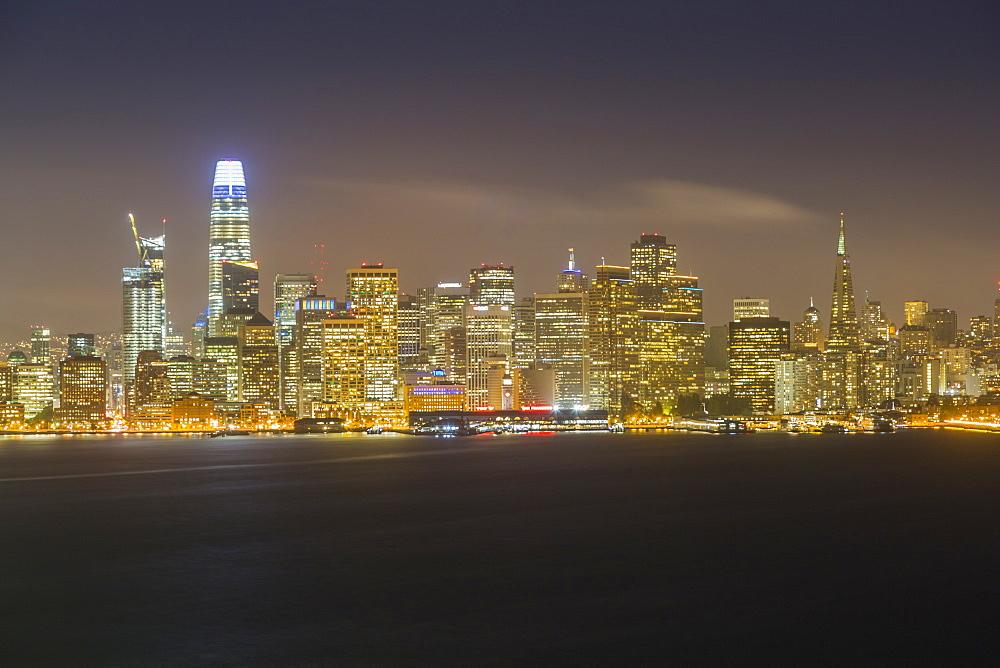 View of San Francisco skyline from Treasure Island at night, San Francisco, California, United States of America, North America