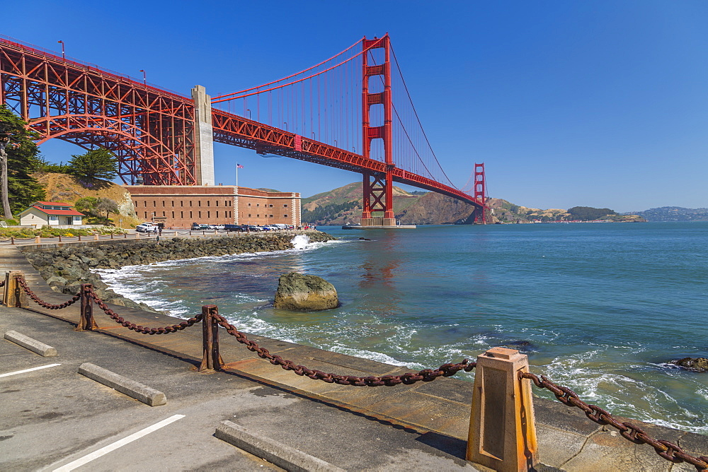 View of Golden Gate Bridge and Fort Point from Marine Drive, San Francisco, California, USA, North America - 844-16975