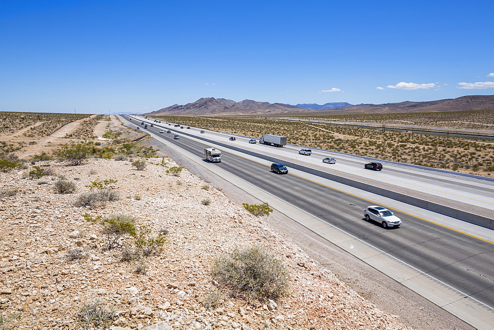 View of Highway 15 near Las Vegas, Nevada, United States of America, North America