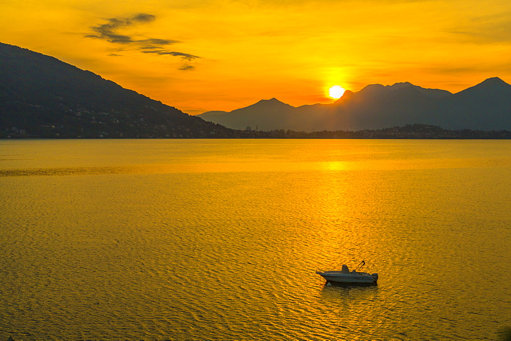 View of sunrise on Lake Maggiore from Baveno, Lago Maggiore, Piedmont, Italian Lakes, Italy, Europe