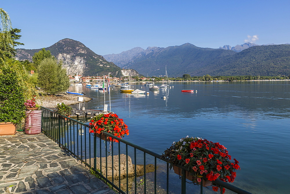 View of Feriolo and boats on Lake Maggiore, Lago Maggiore, Piedmont, Italy, Europe - 844-17880