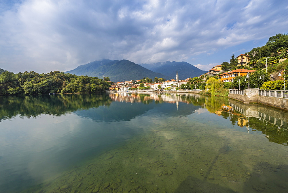 View of Mergozzo reflecting in Lake Mergozo, Piedmont, Italy, Europe - 844-17908