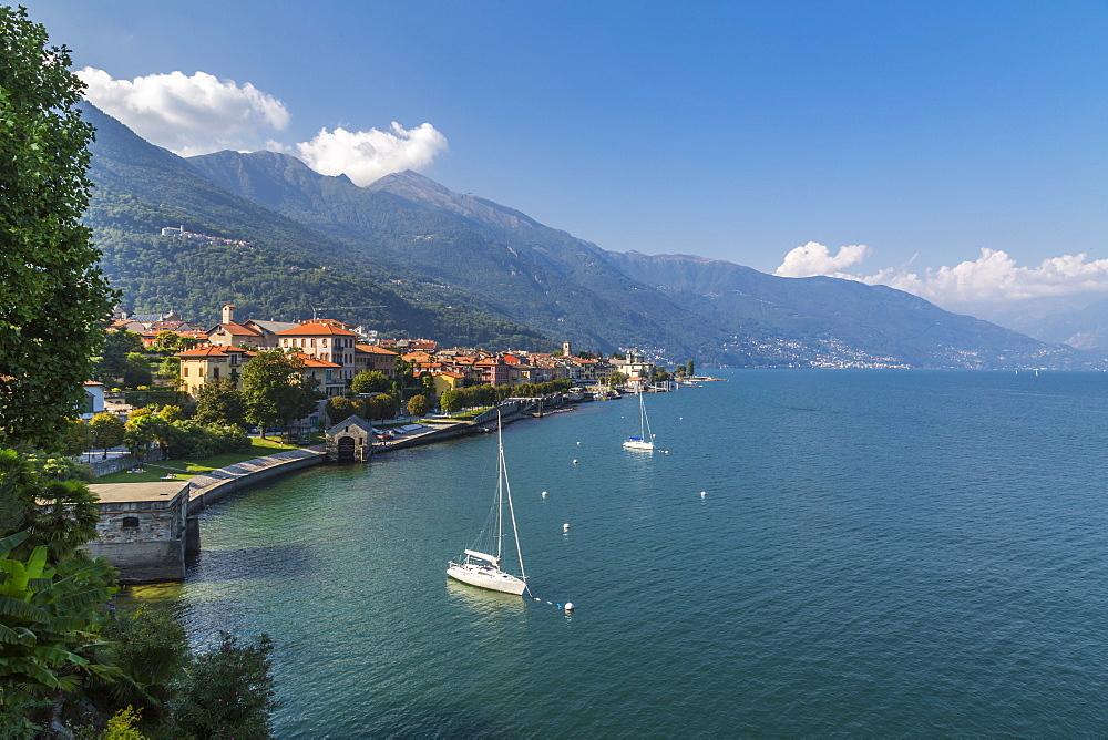 Elevated view of Cannobio and Lake Maggiore, Lake Maggiore, Piedmont, Italy, Europe - 844-17915