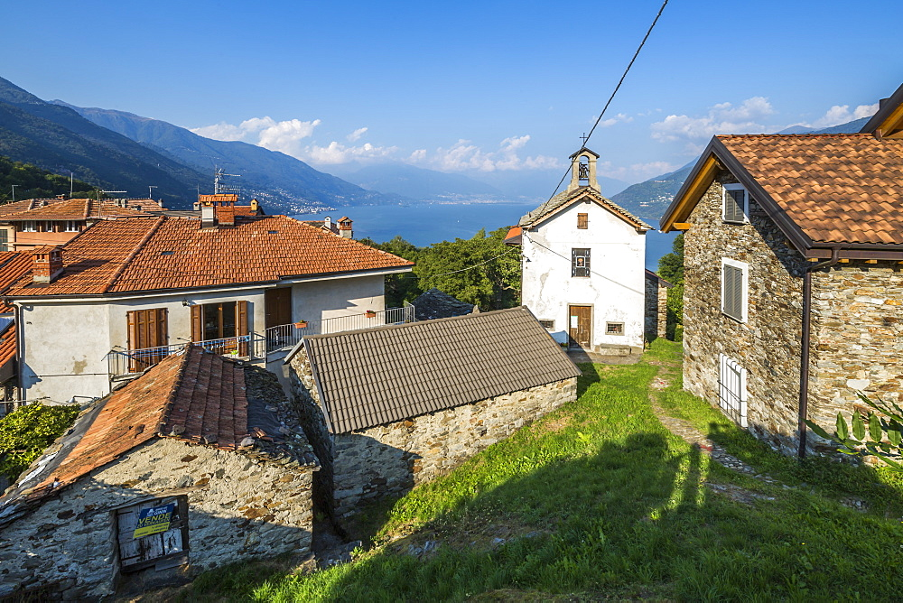 Elevated view of Lake Maggiore from hilltop village near Cannobio, Lake Maggiore, Piedmont, Italy, Europe - 844-17919