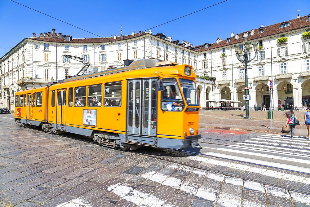 View of tram in Piazza Vittorio Veneto, Turin, Piedmont, Italy, Europe
