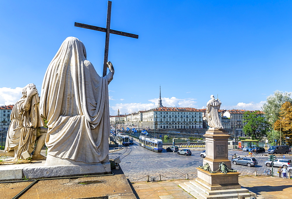 View of Pont Vittorio Emanuele from Churchof Gran Madre Di Dio, Turin, Piedmont, Italy, Europe